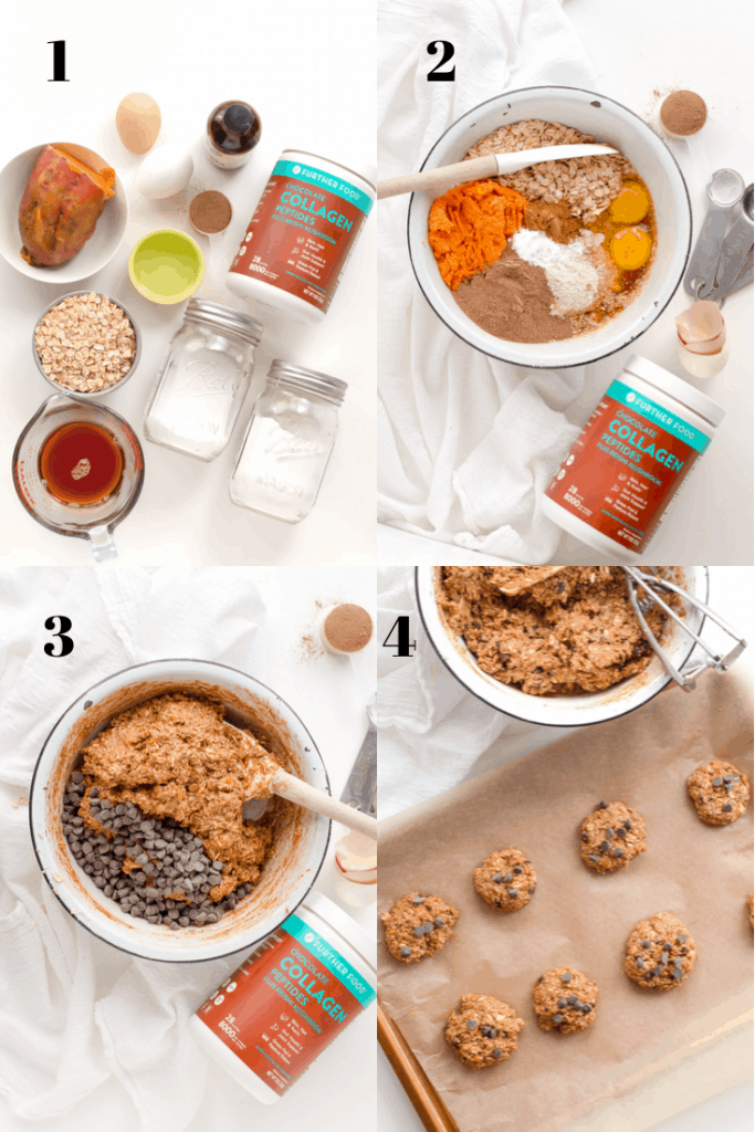 a grid showing the process of making chocolate sweet potato cookies