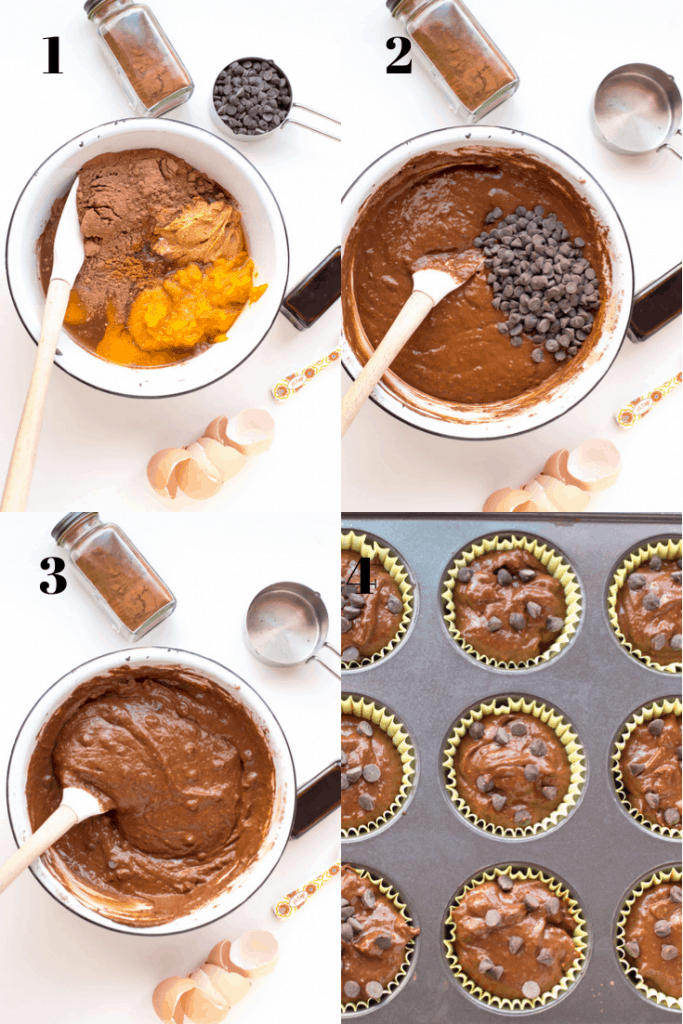 a process shot of how to make chocolate muffins