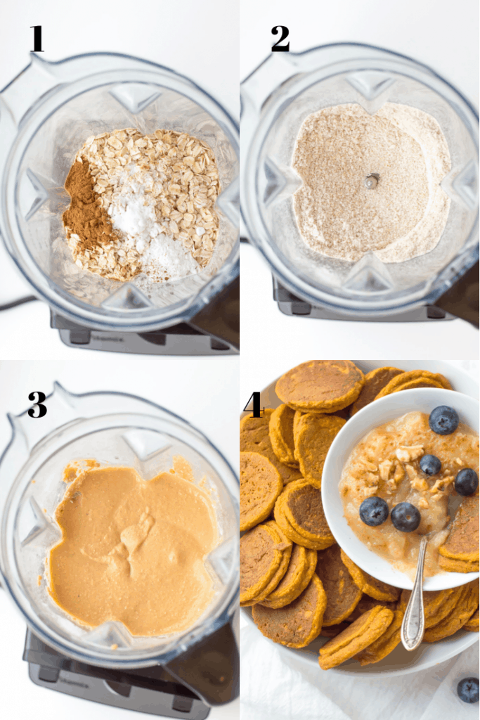 Four steps of the recipe showing all ingredients in a blender, blending them, turning into the batter and final result.