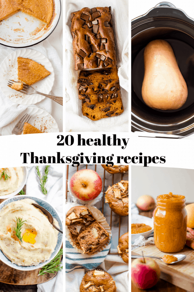 grid of healthy thanksgiving recipe ideas