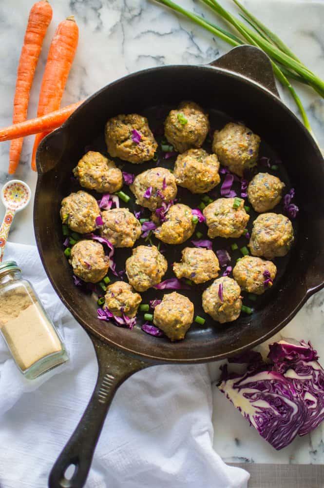 egg roll meatballs in a skillet