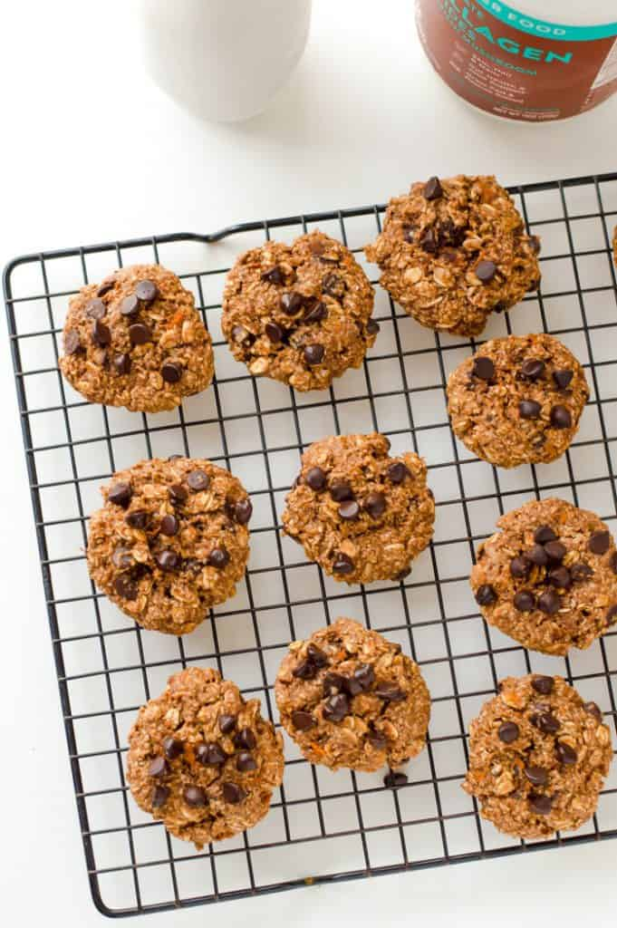 chocolate sweet potato cookies on cooling rack