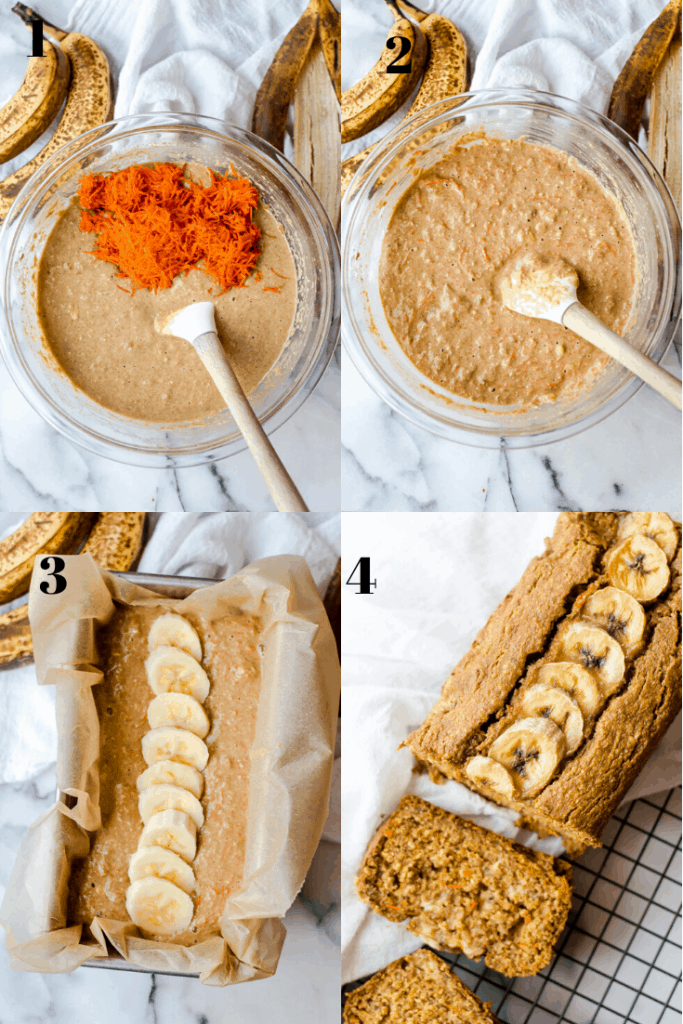 Step-by-step graphic of how to make banana carrot bread. The first image shows batter with grated carrots on top, before being stirred in. The second shows the batter with carrots stirred in. The third shows the banana carrot bread in a loaf pan, topped with sliced bananas, before baking. The fourth image shows baked banana carrot bread after baking, on a cooling rack and sliced.