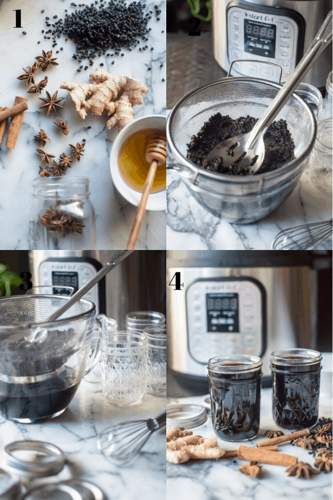 A step by step of how to make elderberry syrup