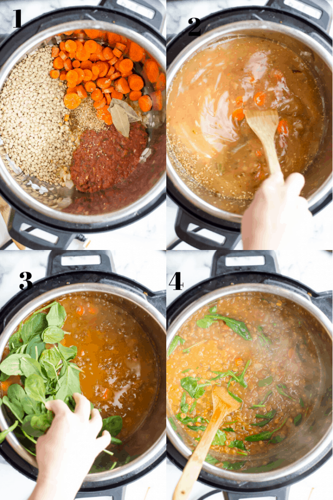 A breakdown of how to make instant pot lentil soup