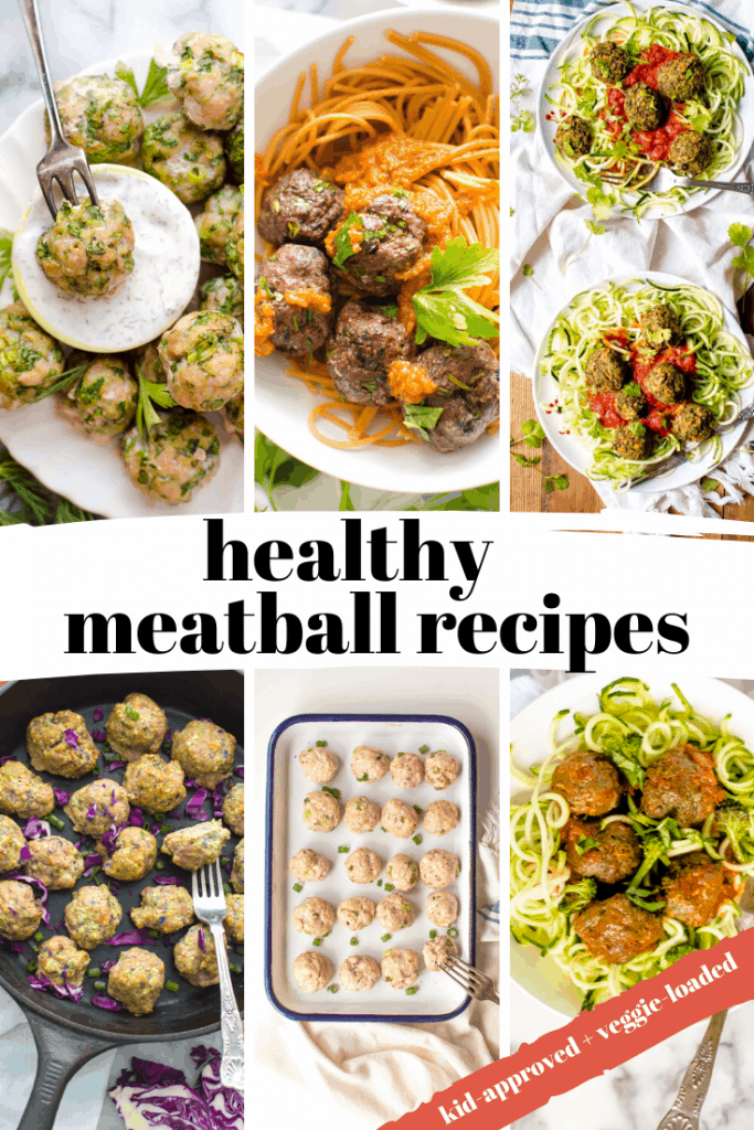 a grid of different meatball recipes that are healthy and full of veggies