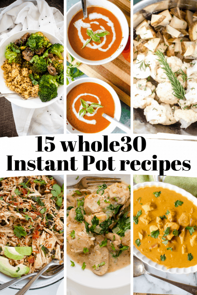 Grid of whole30 meals that can be cooked in an instant pot