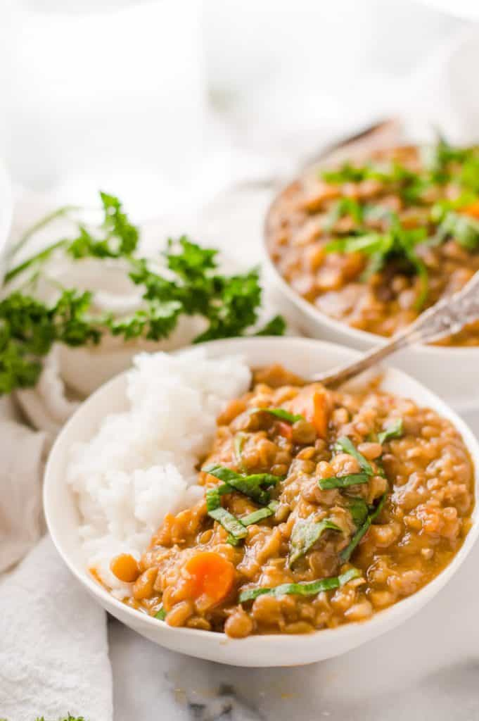 A bowl of lentil soup with rice
