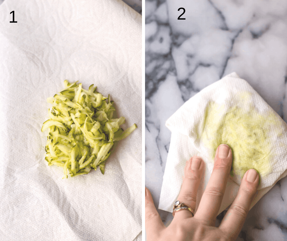 the left side of the picture is grated zucchini in the middle of a paper towel. The right side shows zucchini wrapped up in paper towel and a hand pushing down on it to squeeze out moisture for baking.