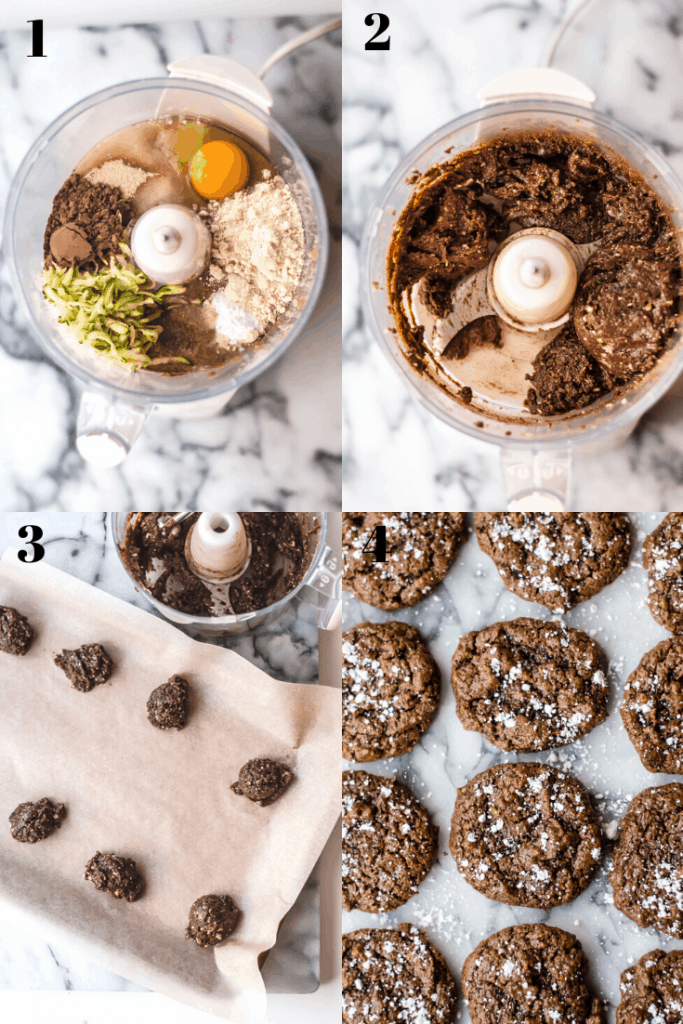 a 4 step visual for how to make chocolate zucchini cookies