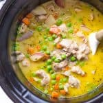 Overhead on the delicious Slow Cooker Creamy Vegetable Chicken Stew
