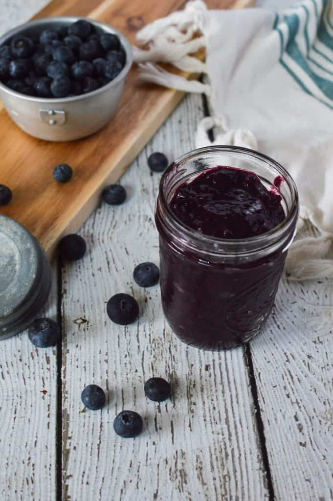 3 Ingredient Blueberry Chia Jam is easy to make, tastes delicious and much lower in sugar than most store bought jams and jellies!