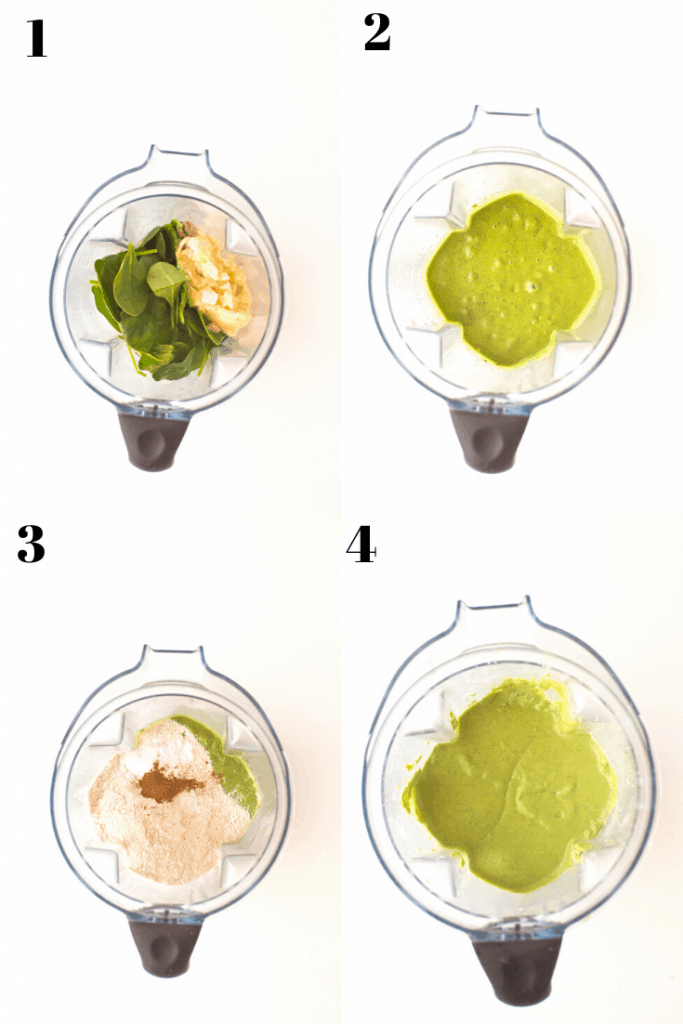 A 4 step diagram for making kid-friendly vegan spinach muffins