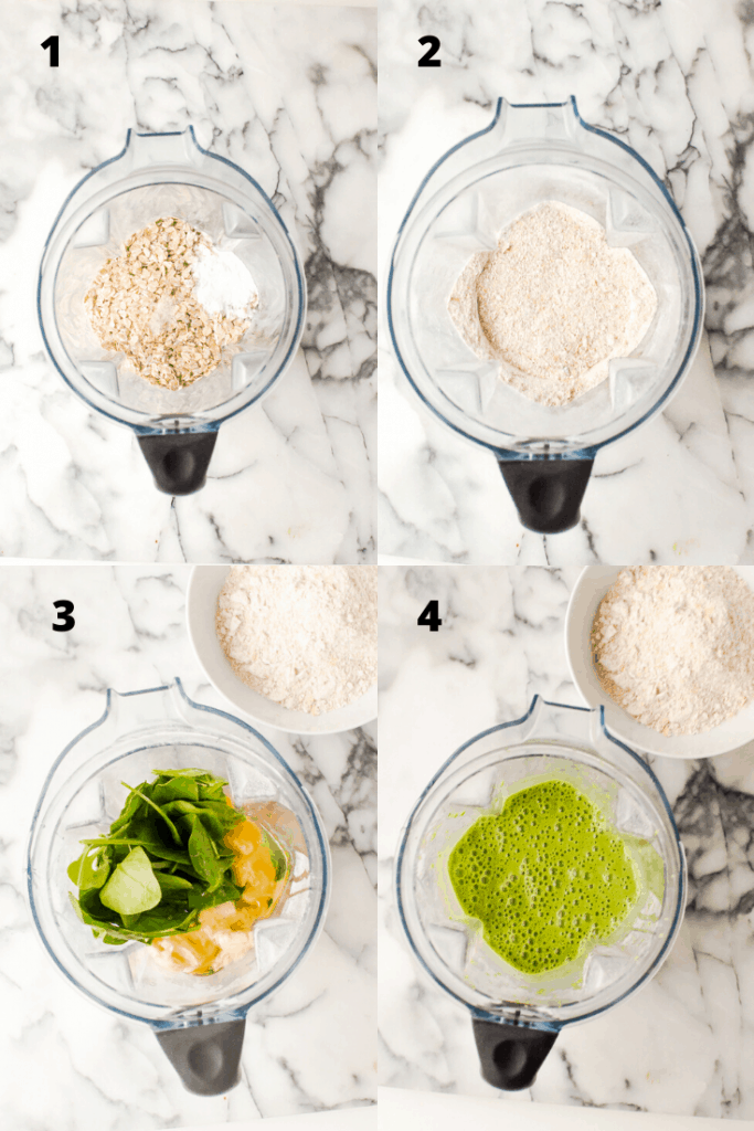 a step-by-step grid of how to make banana spinach pancakes in your blender and how batter looks at each point in the process.