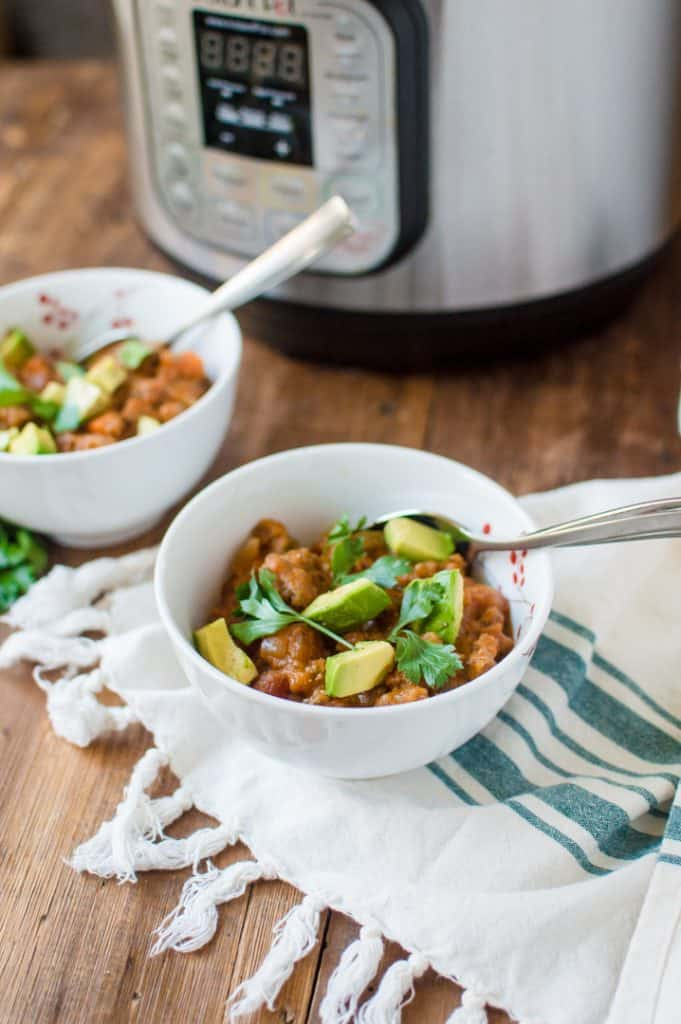 Paleo Pumpkin Chili cooked in Instant Pot