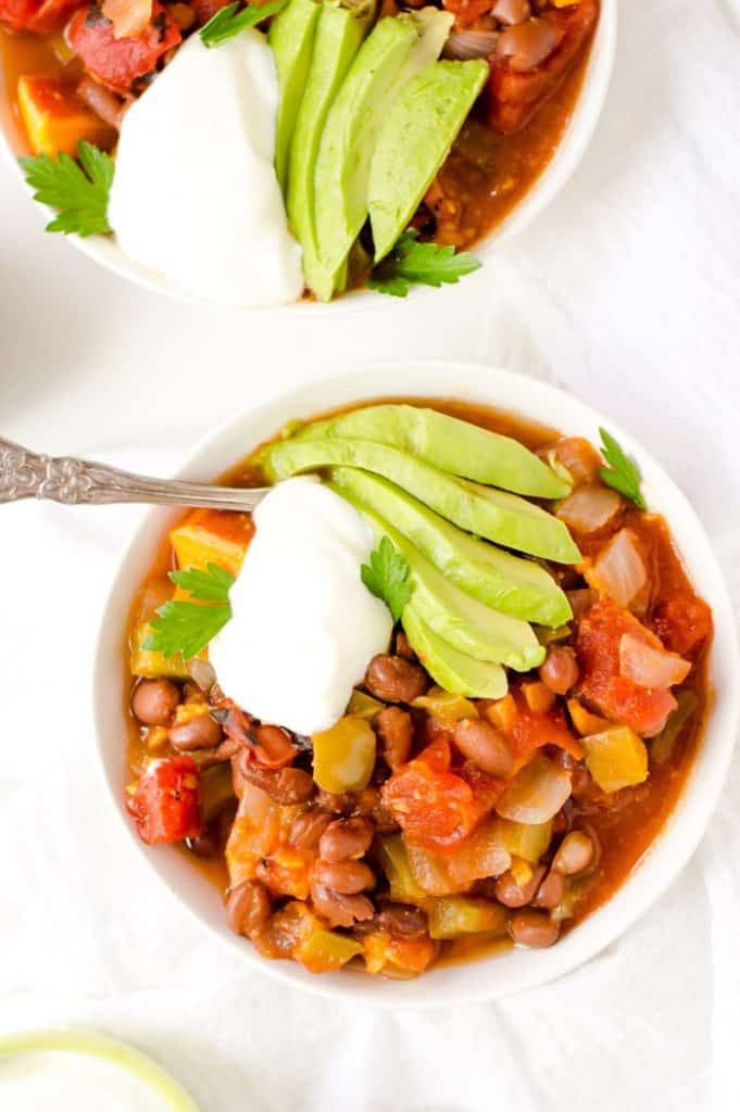 Black Bean and Sweet Potato Chili served in a big white bowl