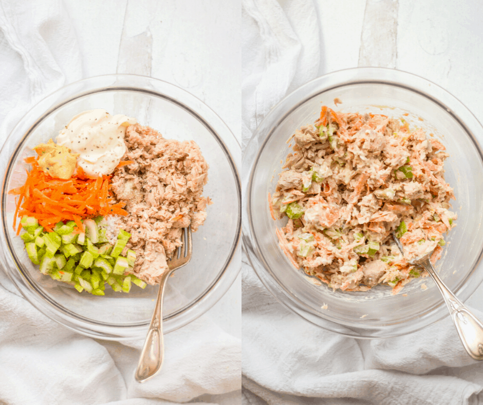 A side-by-side of healthy tuna salad before and after mixing ingredients together.