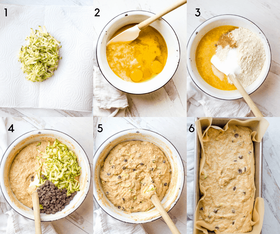 1 6-step process shot of how to make healthy zucchini bread from start to finish