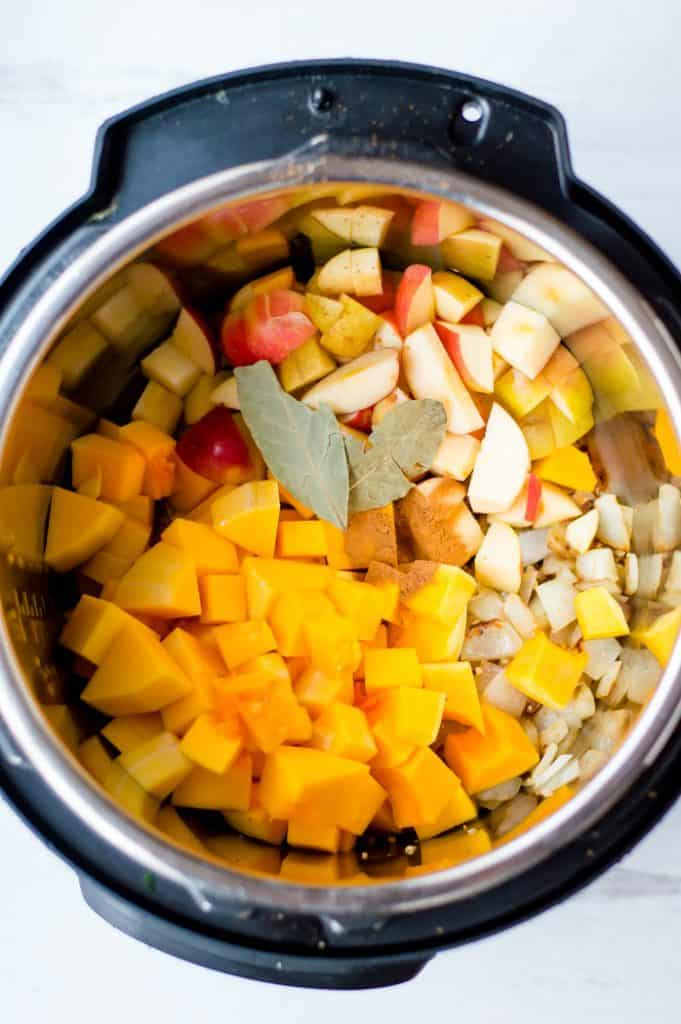 Ingredients Instant pot butternut squash soup before cooking in the pressure cooker