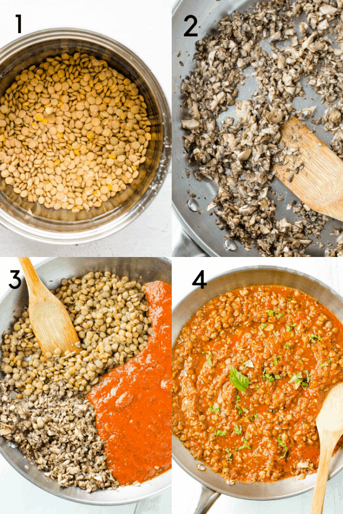 A step-by-step how to of making mushroom lentil pasta sauce made out of four images with numbers overlay