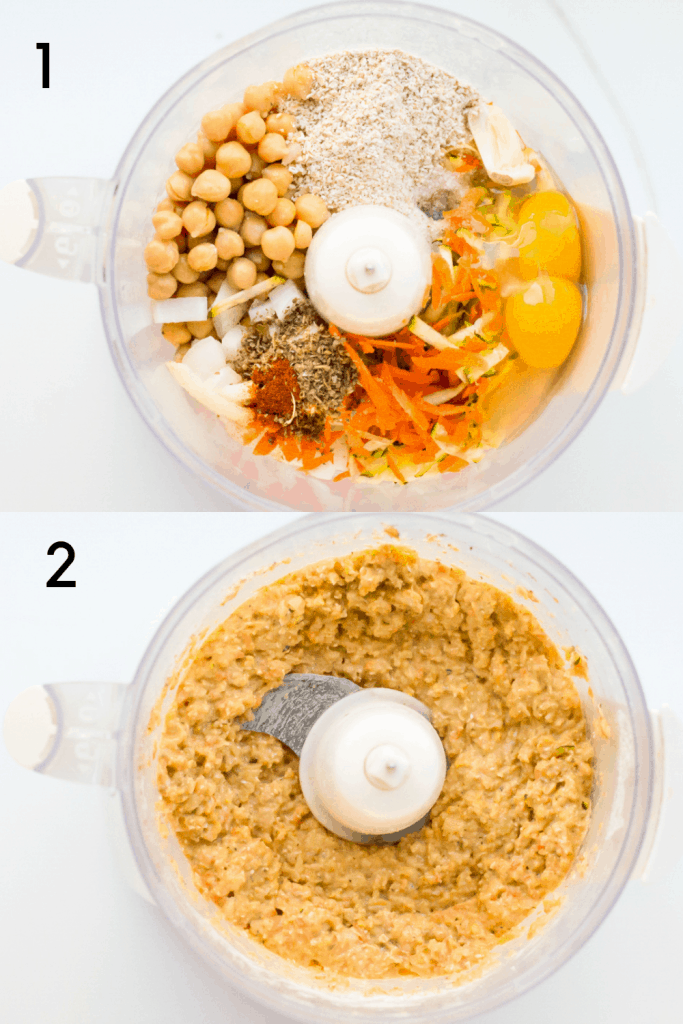 A two image process shot for making chickpea vegetable nuggets The first image is an overhead shot of all the ingredients for the nuggets arranged in a food processor before blending. The second is an overhead shot of the ingredients in the food processor after blending.