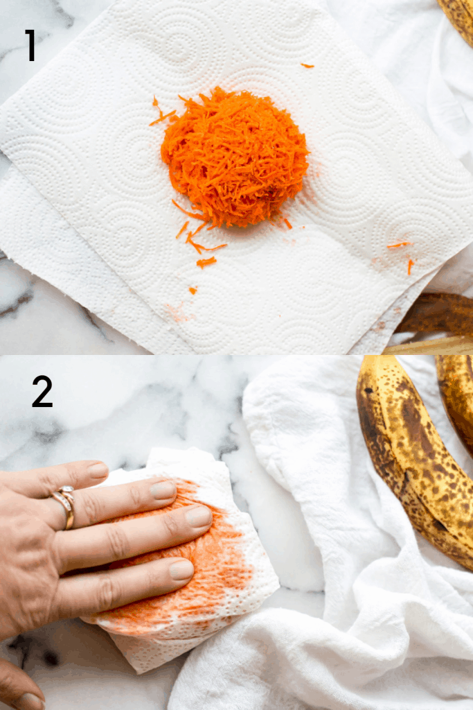 A process shot of how to drain moisture from grated carrots for making banana carrot bread. The first image is of grated carrots arranged in the middle of paper towel. The second image shows the carrots wrapped in paper towel and a hand pressing the wrapped carrots down to draw out the moisture.