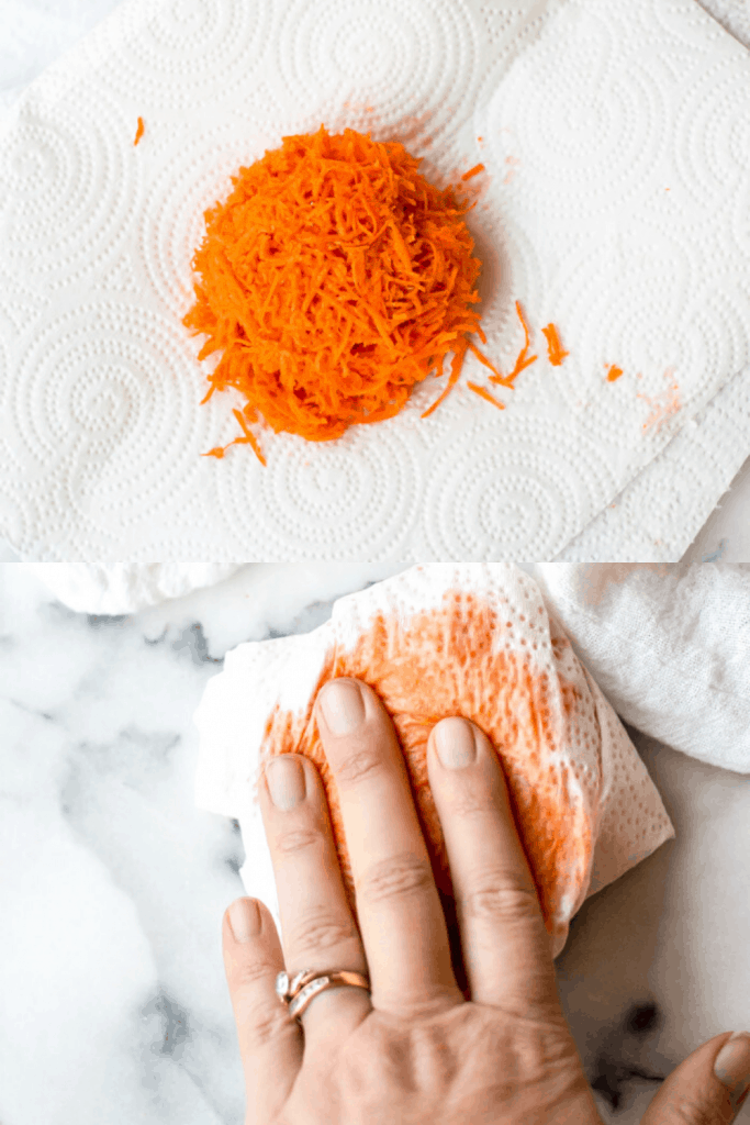 A process shot of how to squeeze moisture out of grated carrots. The first images shows a pile of grated carrots in the middle of a paper towel. The second image shows the carrots wrapped up in the towel and a hand pressing down.