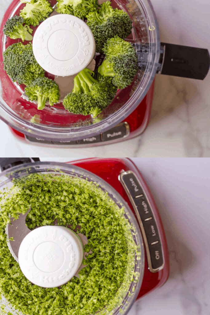 "A two image graphic. The first image shows broccoli florets in in a food processor with the ""S"" blade. The second images shows the florets have been processed down to a ""broccoli rice"""