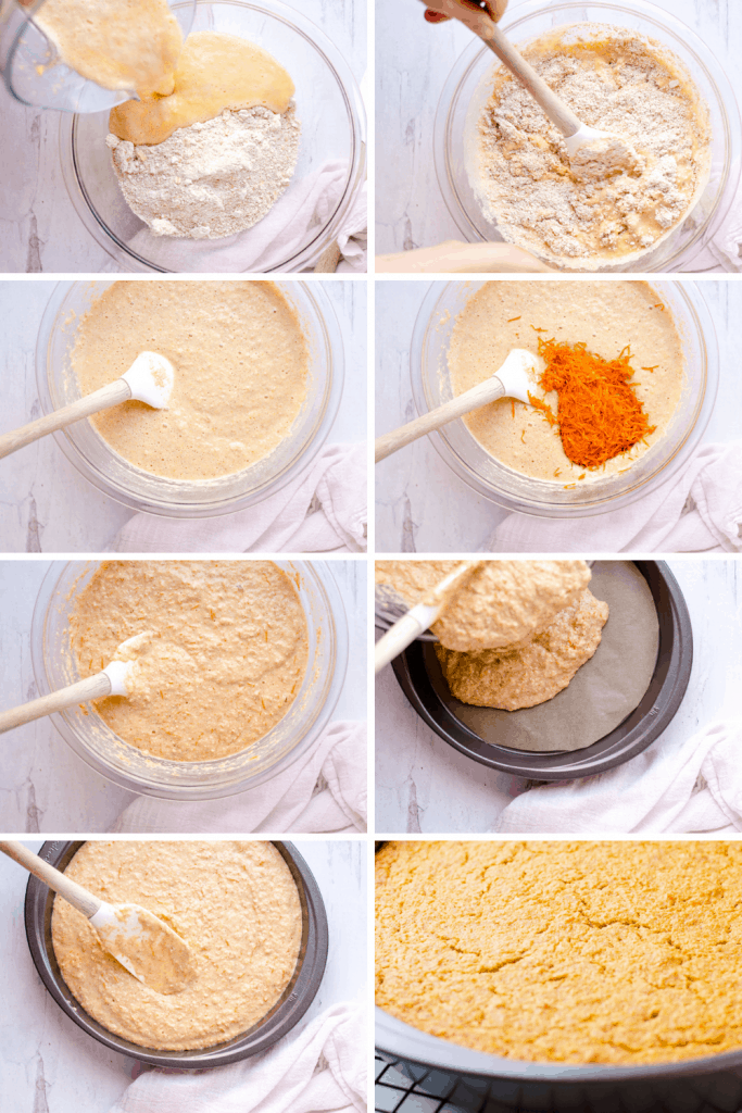 A grid of 8 images walking you through how to make an oatmeal carrot cake. The first image shows the wet blender ingredients being poured into the bowl with the dry ingredients. The second shows them being mixed together. The third is what the batter looks like. The fourth images shows the grated carrots being added to the batter. The fifth image is what the batter looks like after the carrots have been folded in. The sixth image shows the batter being poured into a prepared cake pan. The seventh image shows the batter being spread out in the cake pan. The either images shows the texture of the cake after being baked.
