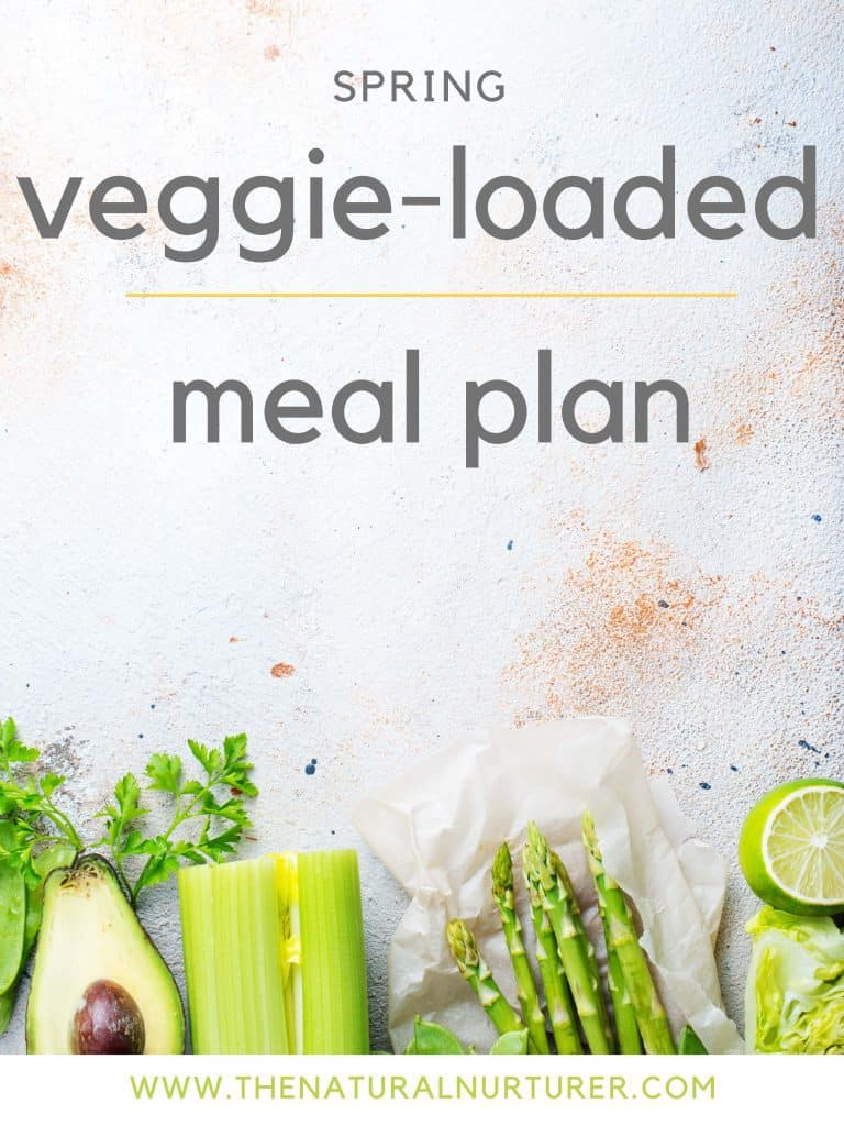 Cover of Spring veggie-Loaded Meal Plan. A white surface with spring vegetables and fruit on the bottom, all in a shade of green.