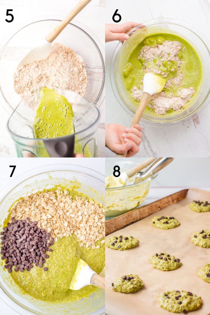 A 4 step image of how to make spinach cookies. The first image shows wet ingredients being poured into a bowl with the dry. The second image shows someone mixing them together. The third image shows the batter with chocolate chips and rolled oats n top, before be folded in. The fourth is of the cookies portioned out on a baking tray.