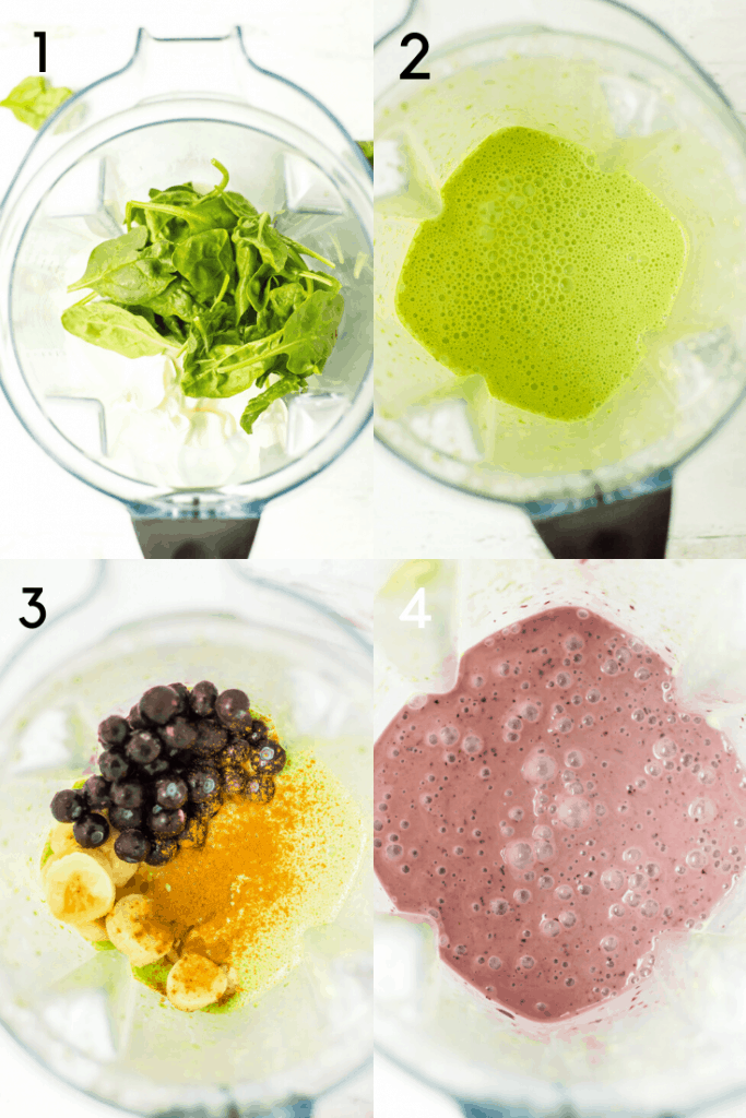 A 4 image process shot of blending a blueberry spinach smoothie. The first image shows spinach, yogurt and milk in the blender. The second image shows them all blended up. The third image shows the addition of banana, cinnamon and blueberries to the blender. The last image shows the final product of everything blended together.