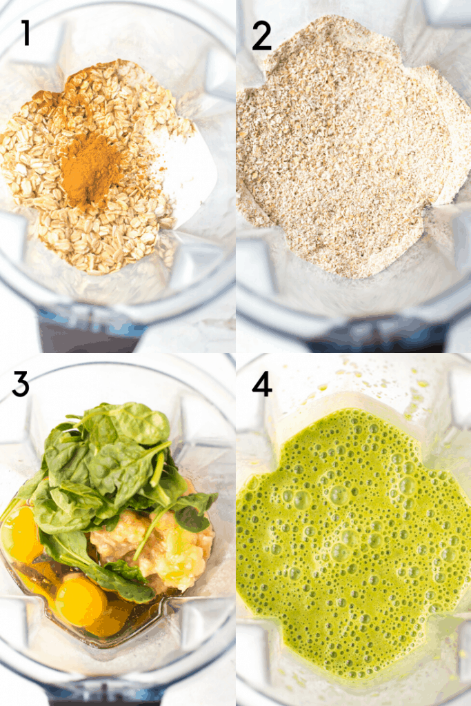 A 4 step process shot of how to make spinach cookies. The first image is of the dry ingredients in a blender before blending. The second image is after they are blended into a flour. The third image is of the wet ingredients plus spinach in the blender before blending. The fourth image is after it has been pureed.