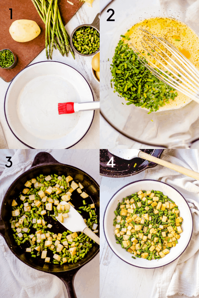 A 4 series of 4 images. The first image show a pastry brush greasing a pie pan. The second image shows eggs and chives with pepper being whisked together in a bowl. The third image shows potatoes and asparagus being cooking in a large cast iron skillet. The fourth image shows the cooked vegetables arranged in a single layer in the prepared pie pan.