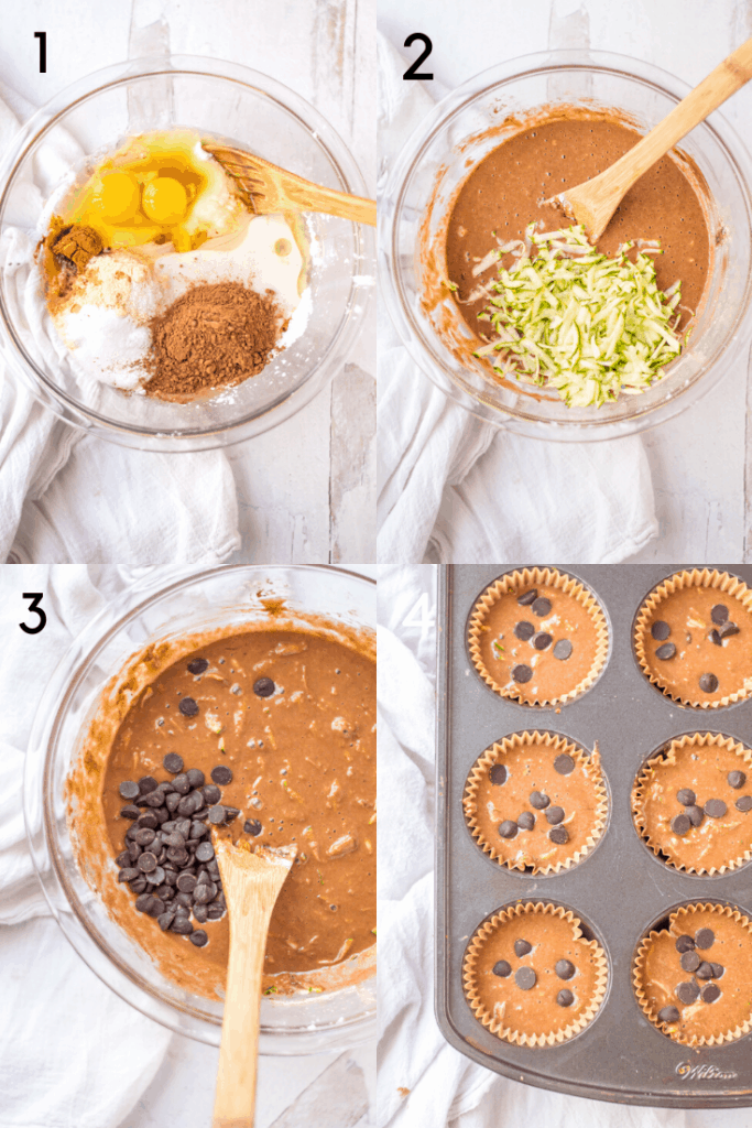 A 4-step image of how to make Chocolate Zucchini Paleo Muffins. The first images shows all major ingredients in a bowl before being stirred. The second image shows the ingredients mixed into batter with grated zucchini added, but not yet folded in. The third image shows the addition of chocolate chips to the mixture. And final images shows the batter portioned out into a lined muffin tin with extra chocolate chips on top.