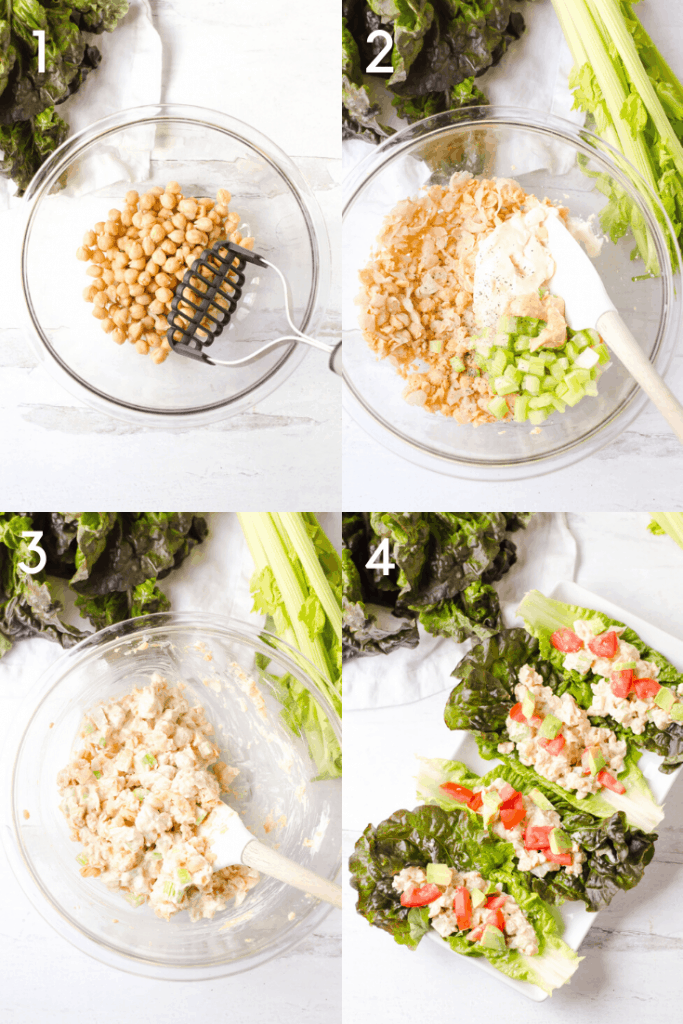 Four steps of making the delicious Mashed Chickpea Salad from scratch.