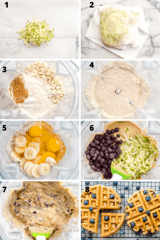 An 8 image grid showing the process of making zucchini waffles. The first images shows grated zucchini on a paper towel. Second images shows zucchini wrapped in the paper towel. Third image shows dry ingredients in a blender before being mixed. 4th image shows dry ingredients after blending. 5th images shows the addition of wet ingredients to the blender. 6th image shoes the addition of blueberries and zucchini before being folded into the batter. 7th image shows batter after blueberries and zucchini have been folded in. 8th images shows finished waffles on a cooling rack with more blueberries.