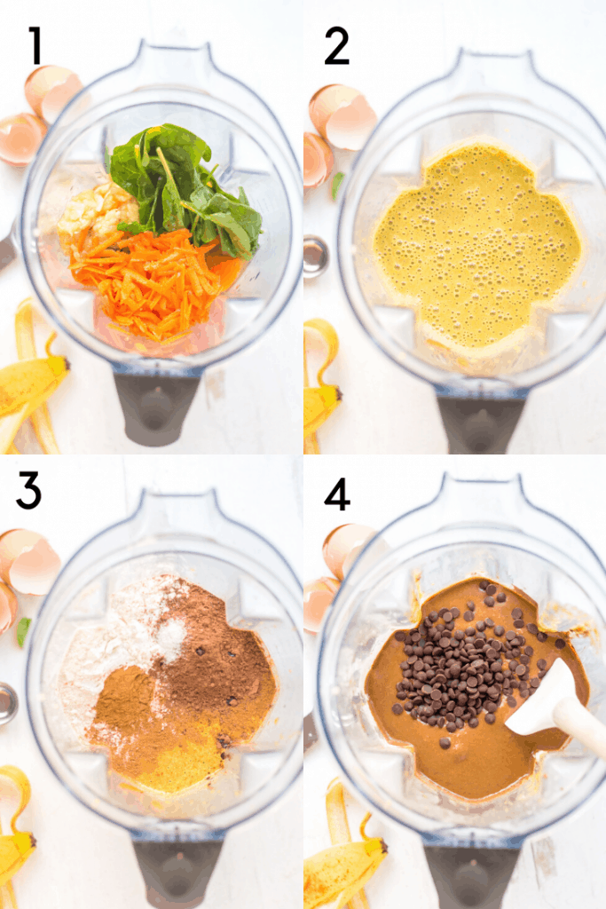 A 4 image process shot of mixing the veggie-Loaded healthy chocolate muffins in a blender. The first image shows the vegetables and wet ingredients in the blender before blending. The second image shows what it looks like after blending. Third images shows the addition of dry ingredients. Fourth image shows the batter all mixed with chocolate chips on top and a spoon read to fold them int.