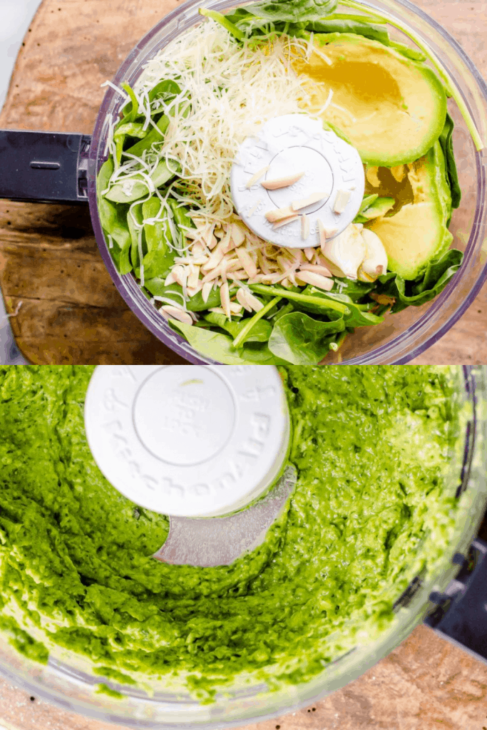 A images. The top images shows the ingredients for avocado pesto in the food processor before blending. The bottom image is of the pesto after blending.