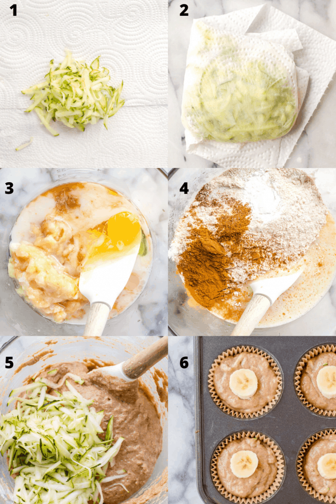 the process of making zucchini banana muffins. The first image shows grated zucchini in the middle of a paper towel. The second image shows the zucchini wrapped up to draw moisture out. Third images shows wet ingredients for the muffins in the bowl before being mixed. Fourth image shows wet ingredients mixed and dry ingredients added. Fifth image shows zucchini being folded in. 6th image show muffins in tin before baking with banana slice on top.