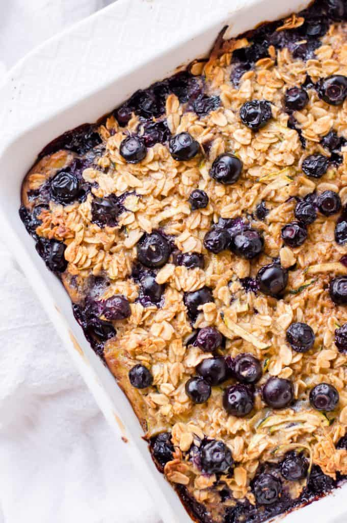 A try of blueberry zucchini baked oatmeal fresh from the oven.