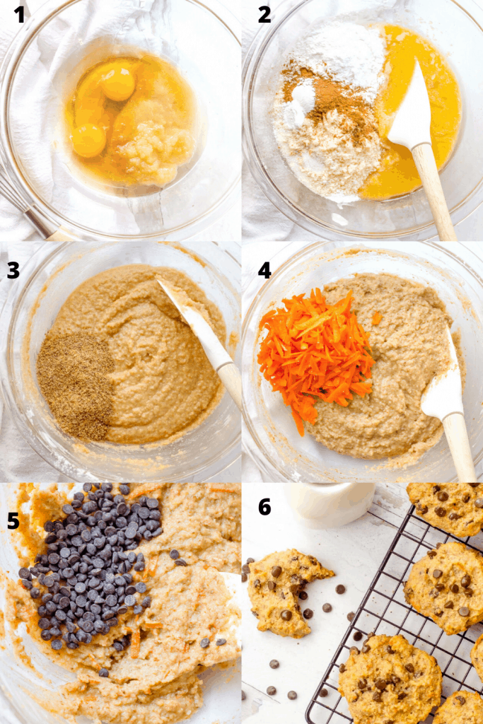 A 6 step image of how to make carrot paleo chocolate chip cookies. The first image shows mixing the wet ingredients. The second shows the addition of the dry. Third shows adding the flax meal to the batter. Fourth image shows folding in the carrots. Fifth shows adding chocolate chips. Sixth images shows finished cookies on a cooking rack.