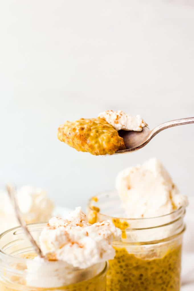 A spoonful of pumpkin chia seed pudding with a little whipped cream and cinnamon.