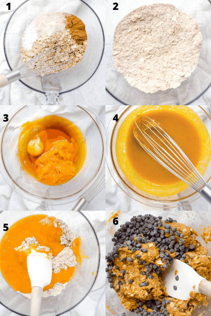 A 6 step image shot of how to mix the batter for oatmeal pumpkin cookies