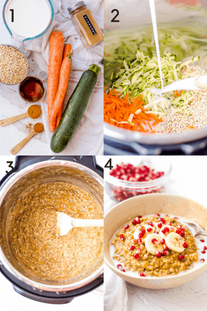 A 4 picture grid of how to make Instant Pot oatmeal.  The first image shows the ingredients on the table. The second image shows the prepped ingredients being poured into the Instant Pot. The third is after the oatmeal has been cooked, still in the Instant Pot. The fourth image is the oatmeal in a bowl and topped with fruit.
