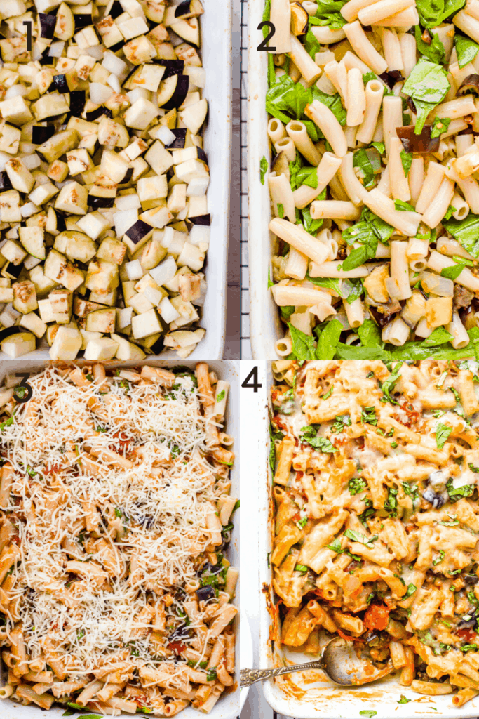 A 4 step image of how to make baked pasta with eggplant. The first image shows the eggplant and onions and garlic in pan, before roasting. The second shows the addition of cooked pasta and spinach. Third image shows the addition of sauce and cheese. The fourth image shows the baked pasta completed and ready to be enjoyed.