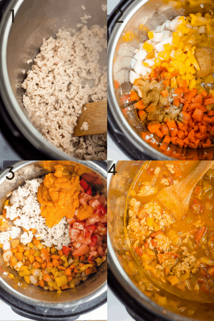 A 4 step image of how to make Instant Pot paleo pumpkin chili. The first image shows browning the ground meat. The next image shows the addition of vegetables to the instant pot. Third image is the addition of pumpkin puree and tomatoes.  The 4th image shows the chili after it has been cooked.