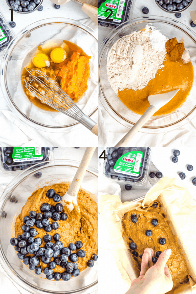 A 4 image progression of how to make sweet potato blueberry bread. The first image shows the wet ingredients in a bowl before being whisked together. The second image shows the addition of the dry ingredients to the bowl before being mixed with a spatula. The third images shows blueberries being added to the bowl. The fourth shows the bread batter in a bowl and a hand topping the bread with more berries before baking.
