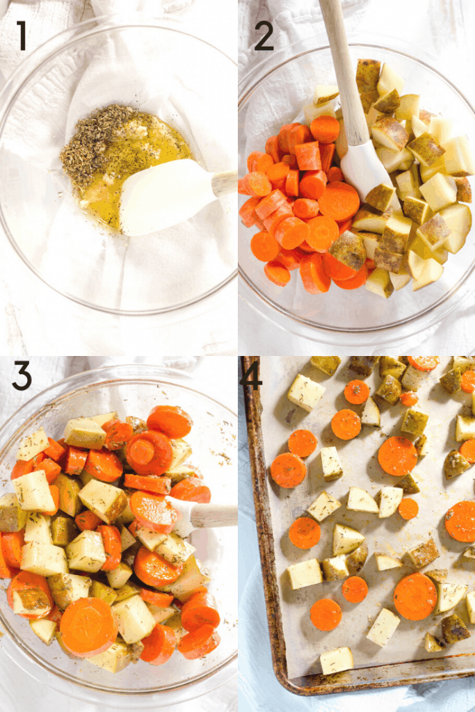 A 4-step process shot of making roasted carrots and potatoes