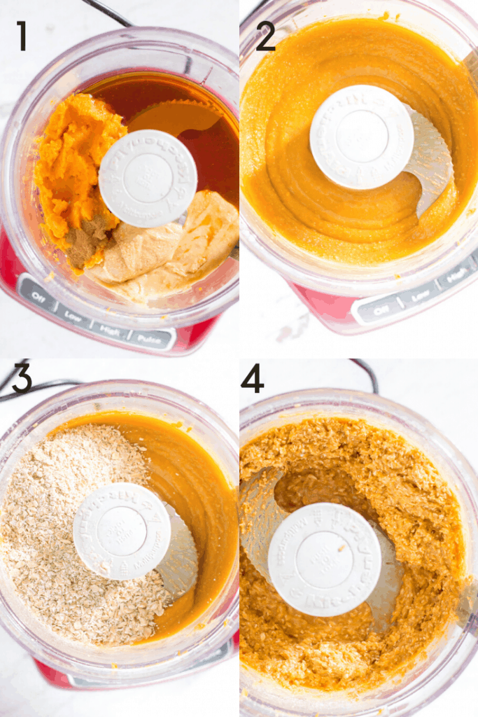 A 4-step process shot of how to make sweet potato peanut butter balls in the food processor